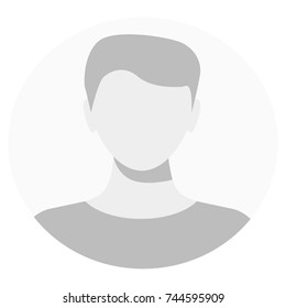 Default avatar profile icon. Grey photo placeholder. Male Default Profile. Gray Person Picture Isolated On White Background. Good Man Headshot For Your User Web Design. Vector illustration