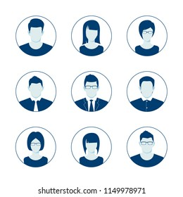 Default Avatar Profile Icon Set. Man and Woman User Image. Anonymous Internet User Picture Collection. Vector illustration