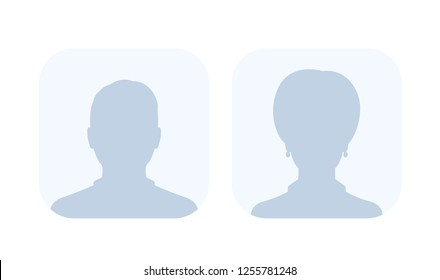Default avatars, photo placeholders, profile pictures, male and female