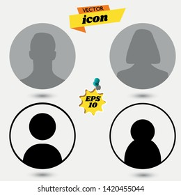 Default male and female avatar profile picture icon set. Man and woman photo placeholder. man icon. man icon Vector Illustration