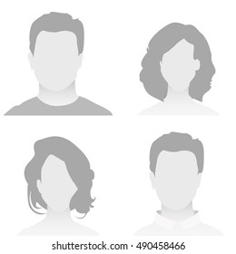 Default Placeholder Avatar Profile on White Background. Man and Woman