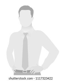 Default placeholder businessman half-length portrait photo avatar. Man gray color