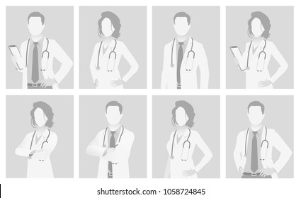 Default placeholder doctor half-length portrait photo avatar.  Gray color