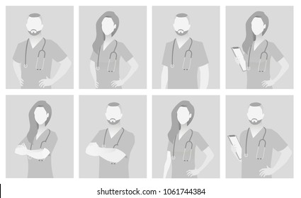 Default placeholder doctor half-length portrait avatar.  Gray color