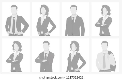 Default placeholder man and woman half-length portrait photo avatar. Businessman and businesswoman gray color