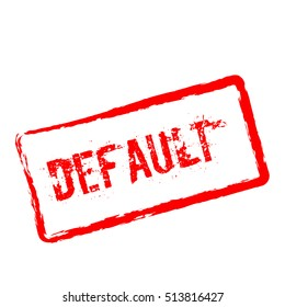 Default red rubber stamp isolated on white background. Grunge rectangular seal with text, ink texture and splatter and blots, vector illustration.