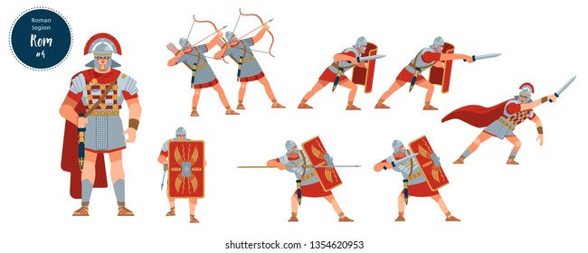 Defeat of the Roman army. Dying, wounded, dead soldiers legionaries of ancient Rome. Vector, stock isolated illustration. Flat cartoon style.