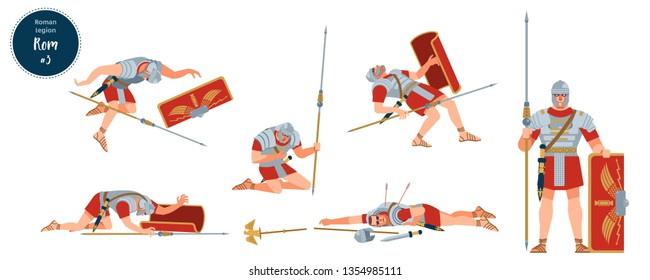 Defeat of the Roman army. Dying, wounded, dead soldiers legionaries of ancient Rome. Vector stock isolated illustration. Flat cartoon style.