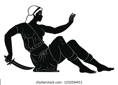 Defeated amazon woman with a sword in her hands sitting on the ground. One figure isolated on white background.