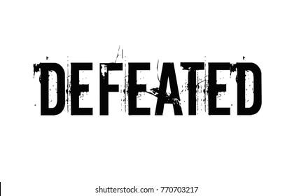 Defeated. Typographic stamp visualisation concept Original series.