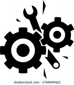 Defective machine. Broken gears. Damaged cogwheels. Jammed mechanism. Wrench stuck in device. Bent tool. Industrial accident. Dangerous situation.