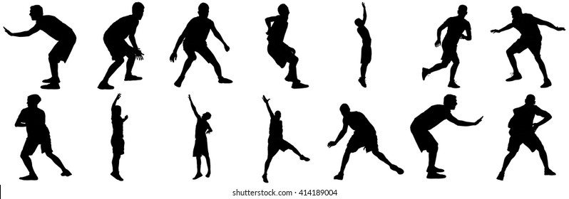 Defence, defense position of basketball players black silhouette vector illustration isolated on white background.