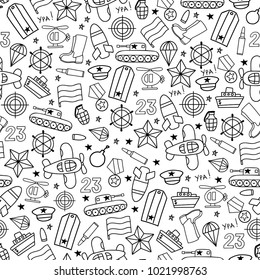 Defenders day military seamless vector pattern on white background. Russian national holiday on 23 February. Black and white colors.