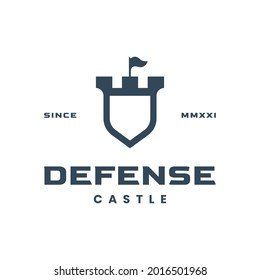 Defense Castle Tower logo design inspiration. Shield with Castle Crest and Flag, Fortress, Security, Protection logo design. Compact modern castle logo combined with a shield.