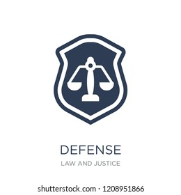 Defense icon. Trendy flat vector Defense icon on white background from law and justice collection, vector illustration can be use for web and mobile, eps10