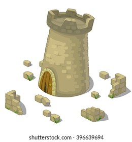 Defensive tower. The medieval buildings. Vector illustration.
