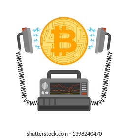 Defibrillator and Bitcoin. Cryptocurrency launch. Medical device. electropulse therapy of BTC. Business concept in crypto exchange