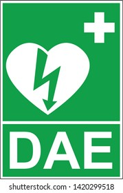 Defibrillator emergency sign (DAE, AED)
