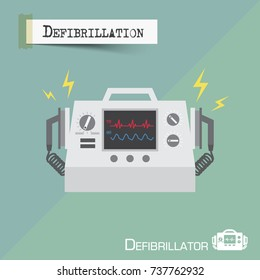 Defibrillator machine . Flat design . Vector .