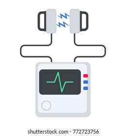 Defibrillator machine icon. Vector illustration isolated on white background.