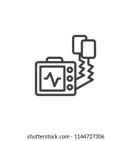 Defibrillator machine outline icon. linear style sign for mobile concept and web design. Automated external defibrillator line vector icon. AED symbol, logo illustration. Pixel perfect vector