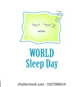 Deficiency of sleep. Insomnia. World Sleep Day. Sleeping pillow. Infographics. Vector illustration on isolated background