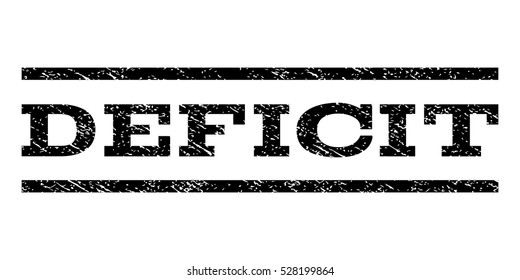 Deficit watermark stamp. Text caption between horizontal parallel lines with grunge design style. Rubber seal black stamp with dirty texture. Vector ink imprint on a white background.