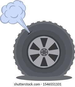 Deflated automobile tire. Punctured wheel of car. Element of Tire service station. Cartoon flat illustration. Comic air and smoke. Accident and repair