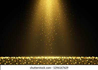 Defocused glitters. Glowing light effect. Sparkling golden dust. Abstract luxury background