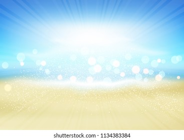 Defocussed background of a sunny summer beach