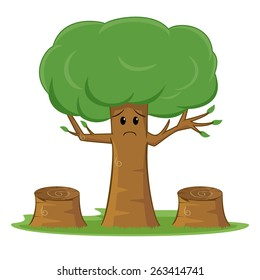 Deforestation awareness, sad tree