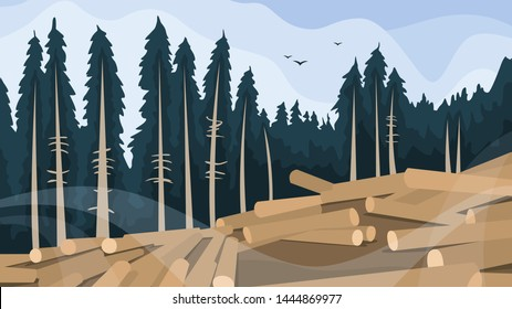Deforestation concept. Chopping forest, destruction of wood. Danger for ecology and air pollution. Vector illustration in cartoon style