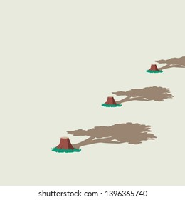 Deforestation and environment damage vector concept with cut trees and their former shadows. Symbol of ecology disaster, climate change, human destroying nature. Eps10 illustration.