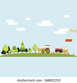 Deforestation. Forest being cleared by a tractor, truck and crane. Lumber industry.