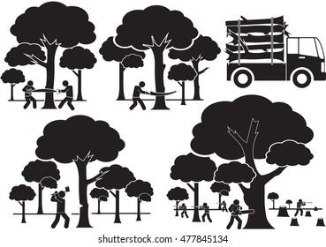 deforestation icon set