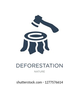 deforestation icon vector on white background, deforestation trendy filled icons from Nature collection, deforestation vector illustration