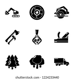 Deforestation icons set. Simple set of 9 deforestation vector icons for web isolated on white background