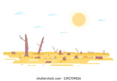 Deforestation with many stumps in desert place, nature disaster concept illustration in flat style isolated, cutting down trees, environmental pollution and ecological problems