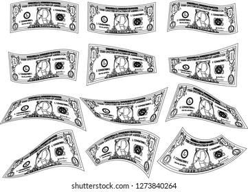 Deformed 1 US dollar banknote outline set