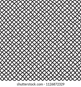 Deformed, warped, distorted hand drawn lattice, fishing net, trellis, grating texture, pattern. Black and white seamless vector background. Mesh made of crossing wavy diagonal doodle style stripes.