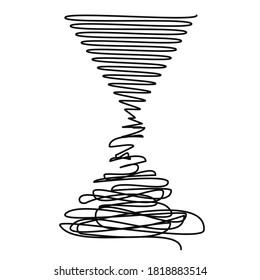 degradation from order to chaos - decline vs progress illustration