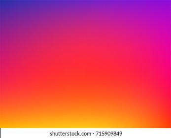 Degrade Gradient Instagram Abstract Blur Background. Yellow Orange Red Pink Purple Blue Color Transition Unfocused Smooth Bright Vector Mesh. Trendy Neon Fluid Lights. Luxury multicolor Minimal bokeh