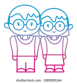 degraded line boy and girl together with glasses and hairstyle