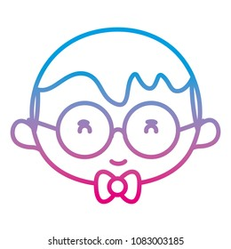 degraded line boy head with hairstyle and glasses style
