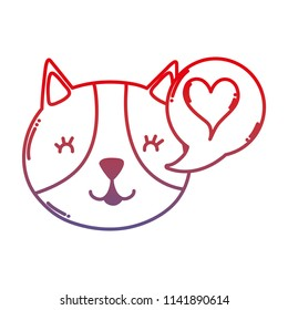 degraded line happy cat with heart inside chat bubble