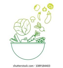 degraded line natural vegetables organic food inside bowl