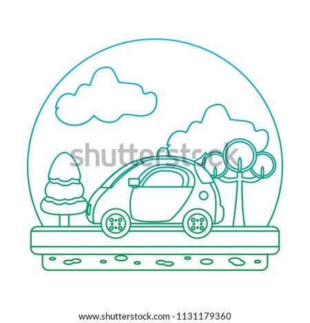 Degraded Line Police Car Emergency Landscape Stock Vector Royalty