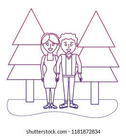 degraded outline happy couple together with pine trees