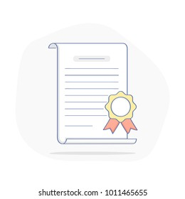 Degree, certificate, contract, graduate degree, charter, license, quality icon, diploma, award or achievement with stamp. Flat outline vector concept on white.
