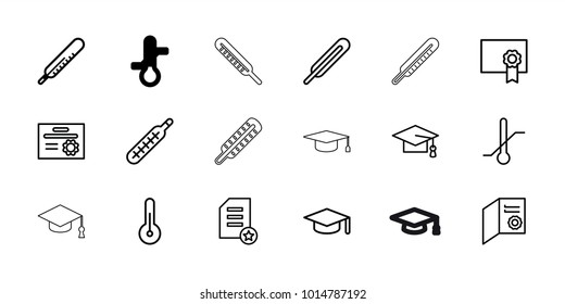Degree icons. set of 18 editable outline degree icons: thermometer, graduation cap, graduation hat, diploma, themometer
